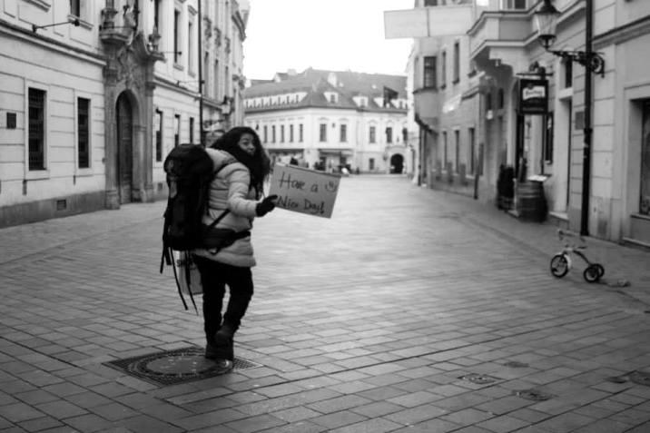 Esta soy yo durante uno de mis viajes en Bratislava